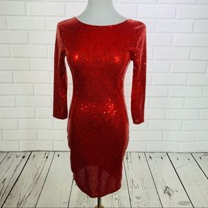 Forever 21 Red 3/4 Sleeve Sequin Dress - S